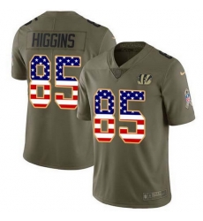 Nike Bengals 85 Tee Higgins Olive USA Flag Men Stitched NFL Limited 2017 Salute To Service Jersey