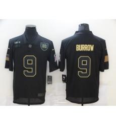Nike Cincinnati Bengals 9 Joe Burrow Black 2020 Salute To Service Limited Jersey