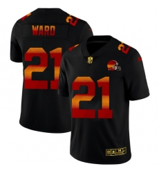Cleveland Browns 21 Denzel Ward Men Black Nike Red Orange Stripe Vapor Limited NFL Jersey