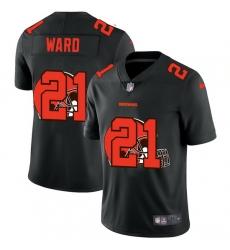 Cleveland Browns 21 Denzel Ward Men Nike Team Logo Dual Overlap Limited NFL Jersey Black