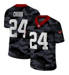 Cleveland Browns 24 Nick Chubb Men Nike 2020 Black CAMO Vapor Untouchable Limited Stitched NFL Jersey