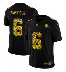 Cleveland Browns 6 Baker Mayfield Men Nike Leopard Print Fashion Vapor Limited NFL Jersey Black