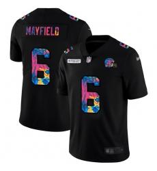 Cleveland Browns 6 Baker Mayfield Men Nike Multi Color Black 2020 NFL Crucial Catch Vapor Untouchable Limited Jersey