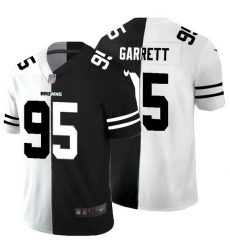 Cleveland Browns 95 Myles Garrett Men Black V White Peace Split Nike Vapor Untouchable Limited NFL Jersey