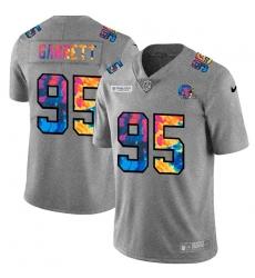 Cleveland Browns 95 Myles Garrett Men Nike Multi Color 2020 NFL Crucial Catch NFL Jersey Greyheather