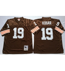 Men Cleveland Browns 19 Bernie Kosar Brown M&N Throwback Jersey