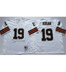 Men Cleveland Browns 19 Bernie Kosar White M&N Throwback Jersey