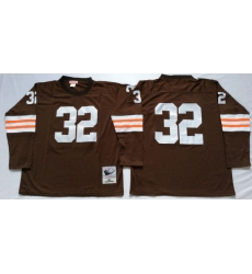 Men Cleveland Browns 32 Jim Brown Brown Long Sleeve M&N Throwback Jersey