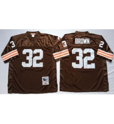 Men Cleveland Browns 32 Jim Brown Brown M&N Throwback Jersey