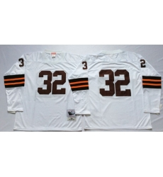 Men Cleveland Browns 32 Jim Brown White Long Sleeve M&N Throwback Jersey