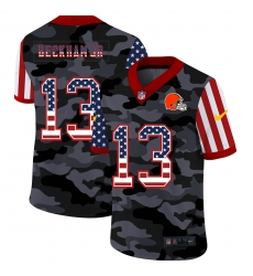 Nike Cleveland Browns 13 Odell Beckham Jr  Camo 2020 USA Flag Salute To Service Limited Jersey