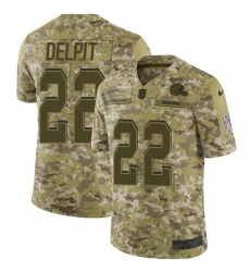 Nike Cleveland Browns 22 Grant Delpit Camo Men Stitched NFL Limited 2018 Salute To Service Jersey