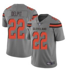 Nike Cleveland Browns 22 Grant Delpit Gray Men Stitched NFL Limited Inverted Legend Jersey