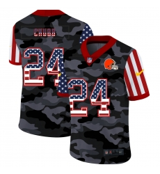 Nike Cleveland Browns 24 Nick Chubb Camo 2020 USA Flag Salute To Service Limited Jersey