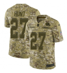 Nike Cleveland Browns 27 Kareem Hunt Camo Men Stitched NFL Limited 2018 Salute To Service Jersey