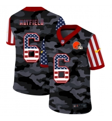 Nike Cleveland Browns 6 Baker Mayfield Camo 2020 USA Flag Salute To Service Limited Jersey