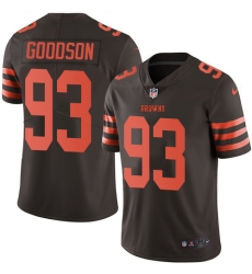 Nike Cleveland Browns 93 B J  Goodson Brown Men Stitched NFL Limited Rush Jersey
