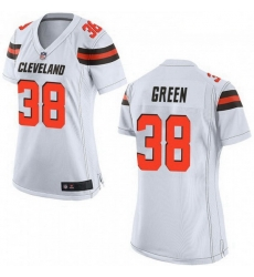 Women Cleveland Browns 38 A.J. Green White Vapor Limited Limited Jersey