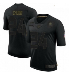 Youth Cleveland Browns 24 Nick Chubb Black 2020 Salute To Service Jersey