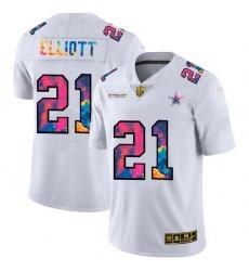 Dallas Cowboys 21 Ezekiel Elliott Men White Nike Multi Color 2020 NFL Crucial Catch Limited NFL Jersey