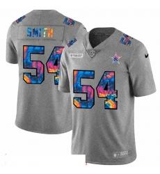 Men Dallas Cowboys 54 Jaylon Smith Men Nike Multi Color 2020 NFL Crucial Catch NFL Jersey Greyheather