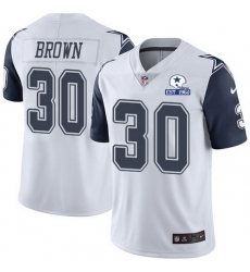 Nike Cowboys 30 Anthony Brown White Men Stitched With Established In 1960 Patch NFL Limited Rush Jersey