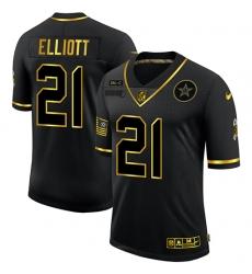 Nike Dallas Cowboys 21 Ezekiel Elliott Black Gold 2020 Salute To Service Limited Jersey
