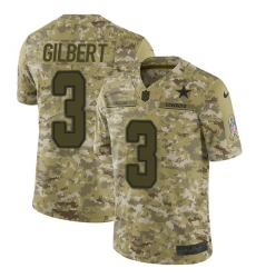 Nike Dallas Cowboys 3 Garrett Gilbert Camo Men Stitched NFL Limited 2018 Salute To Service Jersey
