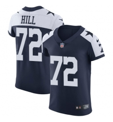 Nike Dallas Cowboys 72 Trysten Hill Navy Blue Thanksgiving Men Stitched NFL Vapor Untouchable Throwback Elite Jersey