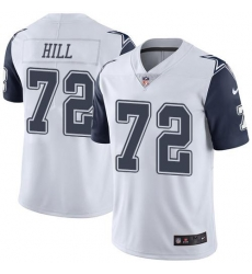 Nike Dallas Cowboys 72 Trysten Hill White Men Stitched NFL Limited Rush Jersey