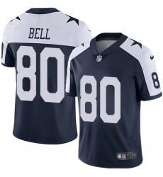 Nike Dallas Cowboys 80 Blake Bell Navy Blue Thanksgiving Men Stitched NFL Vapor Untouchable Limited Throwback Jersey