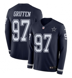 Nike Dallas Cowboys 97 Everson Griffen Navy Blue Team Color Men Stitched NFL Limited Therma Long Sleeve Jersey