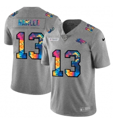 Denver Broncos 13 KJ Hamler Men Nike Multi Color 2020 NFL Crucial Catch NFL Jersey Greyheather