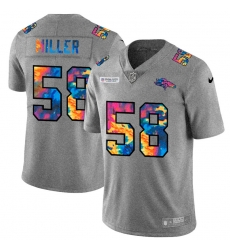Denver Broncos 58 Von Miller Men Nike Multi Color 2020 NFL Crucial Catch NFL Jersey Greyheather