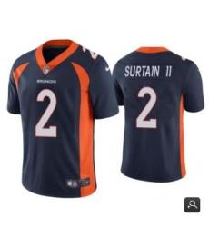 Men Denver Broncos #2 Patrick Surtain II 2021 NFL Draft Black Vapor Untouchable Limited Stitched Jersey