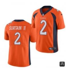 Men Denver Broncos #2 Patrick Surtain II 2021 NFL Draft Orange Vapor Untouchable Limited Stitched Jersey