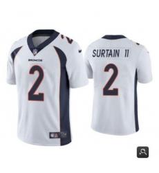 Men Denver Broncos #2 Patrick Surtain II 2021 NFL Draft White Vapor Untouchable Limited Stitched Jersey