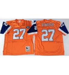 Men Denver Broncos 27 Steve Atwater Orange M&N Throwback Jersey