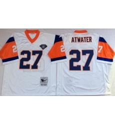 Men Denver Broncos 27 Steve Atwater White M&N Throwback Jersey
