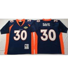Men Denver Broncos 30 Terrell Davis Navy M&N Throwback Jersey