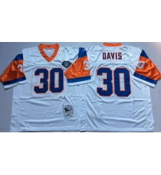 Men Denver Broncos 30 Terrell Davis White M&N Throwback Jersey