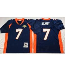 Men Denver Broncos 7 John Elway Navy M&N Throwback Jersey