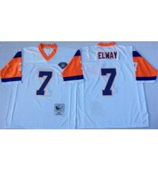 Men Denver Broncos 7 John Elway White M&N Throwback Jersey