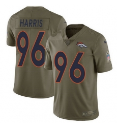 Nike Broncos 96 Shelby Harris Olive Men Stitched NFL Limited 2017 Salute To Service Jersey