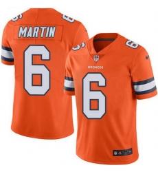 Nike Denver Broncos 6 Sam Martin Orange Men Stitched NFL Limited Rush Jersey