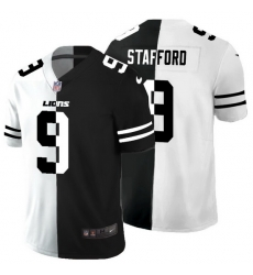 Detroit Lions 9 Matthew Stafford Men Black V White Peace Split Nike Vapor Untouchable Limited NFL Jersey
