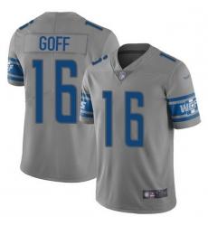 Men Detroit Lions 16 Jared Goff Gray Men Stitched NFL Limited Inverted Legend Jersey