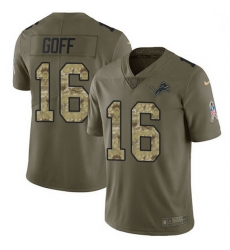 Men Detroit Lions 16 Jared Goff Olive Camo Men Stitched NFL Limited 2017 Salute To Service Jersey