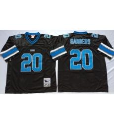 Men Detroit Lions 20 Barry Sanders Black M&N Throwback Jersey