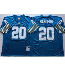 Men Detroit Lions 20 Barry Sanders Blue M&N Throwback Jersey